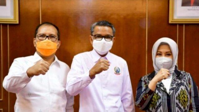 Danny, Nurdin Abdullah, Fatma, saat bertemu di Kantor Gubrnur Sulsel, Rabu (24/2)   Istimewa.