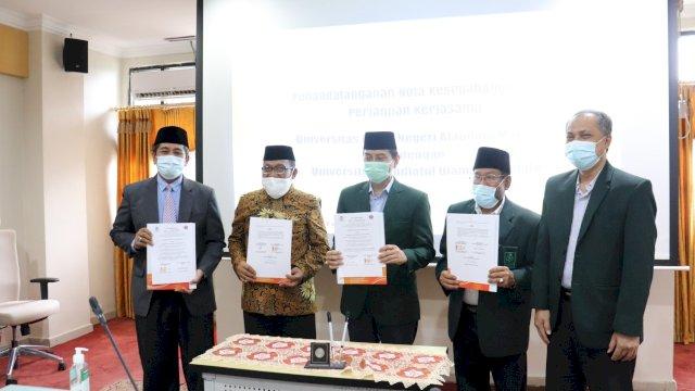 Teken kerjasama antara UIN Alauddin dengan UNU Gorontalo, Rabu (24/2) | Ady S / trotoar.id