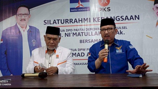 Ketua DPW PKS Sulsel Muhammad Arsyid bersama Ketua DPD PD Sulsel Ni'matullah Erbe Menggelar Jumpa Pers Hasil Pertemuan Keduanya Membahas Arah Koalisi