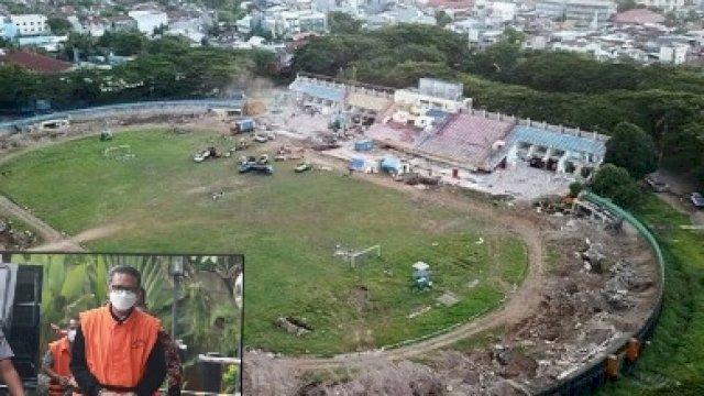 Stadion Mattoanging Makassar dalam tahap proyek renovasi.