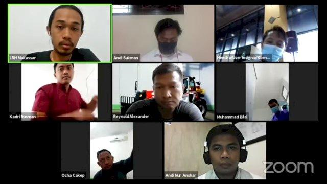 Konferensi pers virtual yang diselenggarakan LBH Makassar, Senin (3/5).