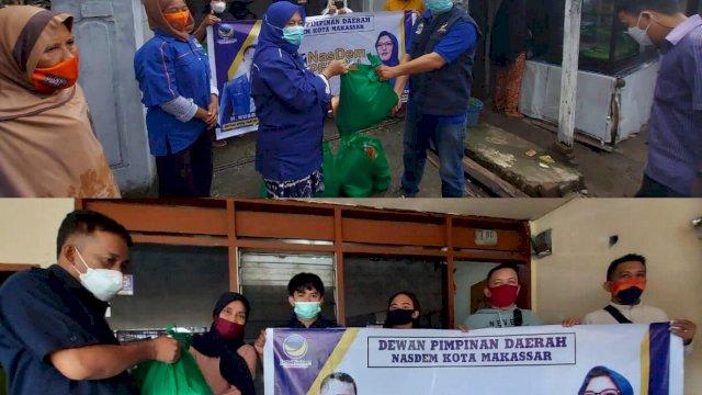 Jumat Berbagi, NasDem Makassar Bagi Ratusan Sembako ke Warga yang Tak Mampu
