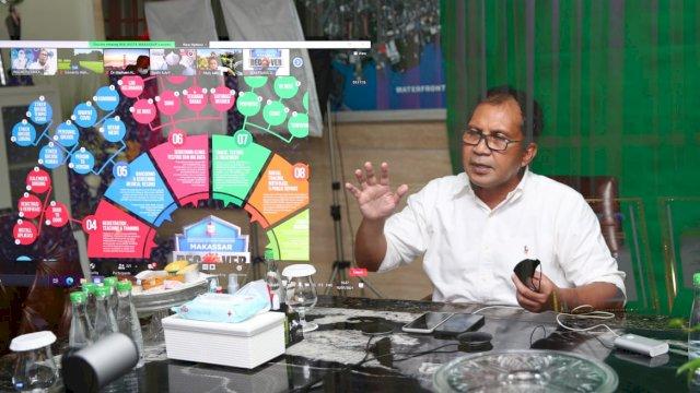 Wali Kota Makassar, Moh. Ramdhan 'Danny' Pomanto duduk bersama Ikatan Dokter Indonesia (IDI) Makassar secara virtual, Jumat (16/7/21).