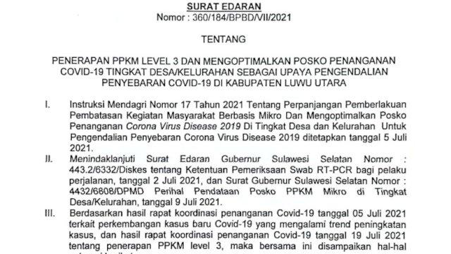 Bupati Lutra Terbitkan Surat Edaran Penerapan PPKM Level 3. Ini 14 Poin yang Wajib Diketahui