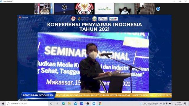 Pelaksana Tugas Gubernur Sulawesi Selatan (Sulsel), Andi Sudirman Sulaiman, membuka secara resmi acara Konferensi Penyiaran Indonesia 2021 secara virtual, Rabu, 15 September 2021.
